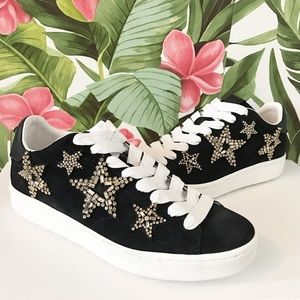 Coach Star Embellished Lace Up Sneakers Black 9
